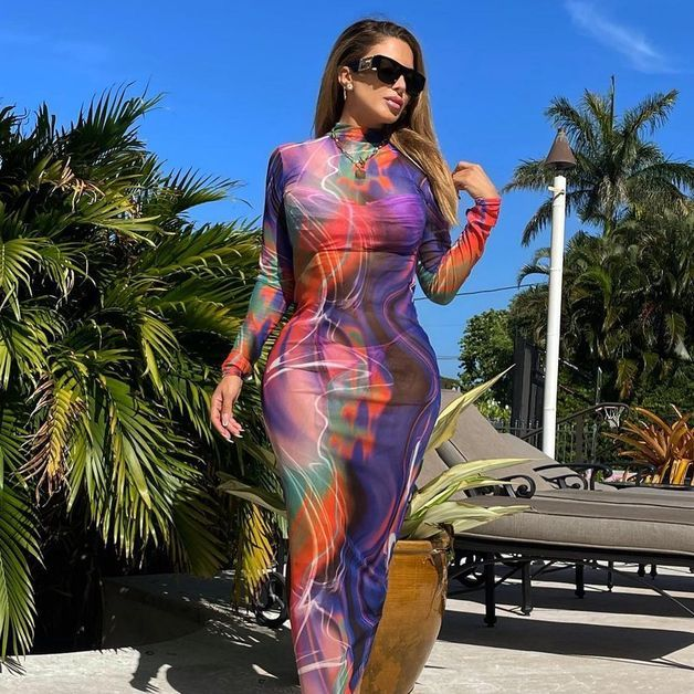 Larsa Pippen slays in a colorful figure-hugging dress.