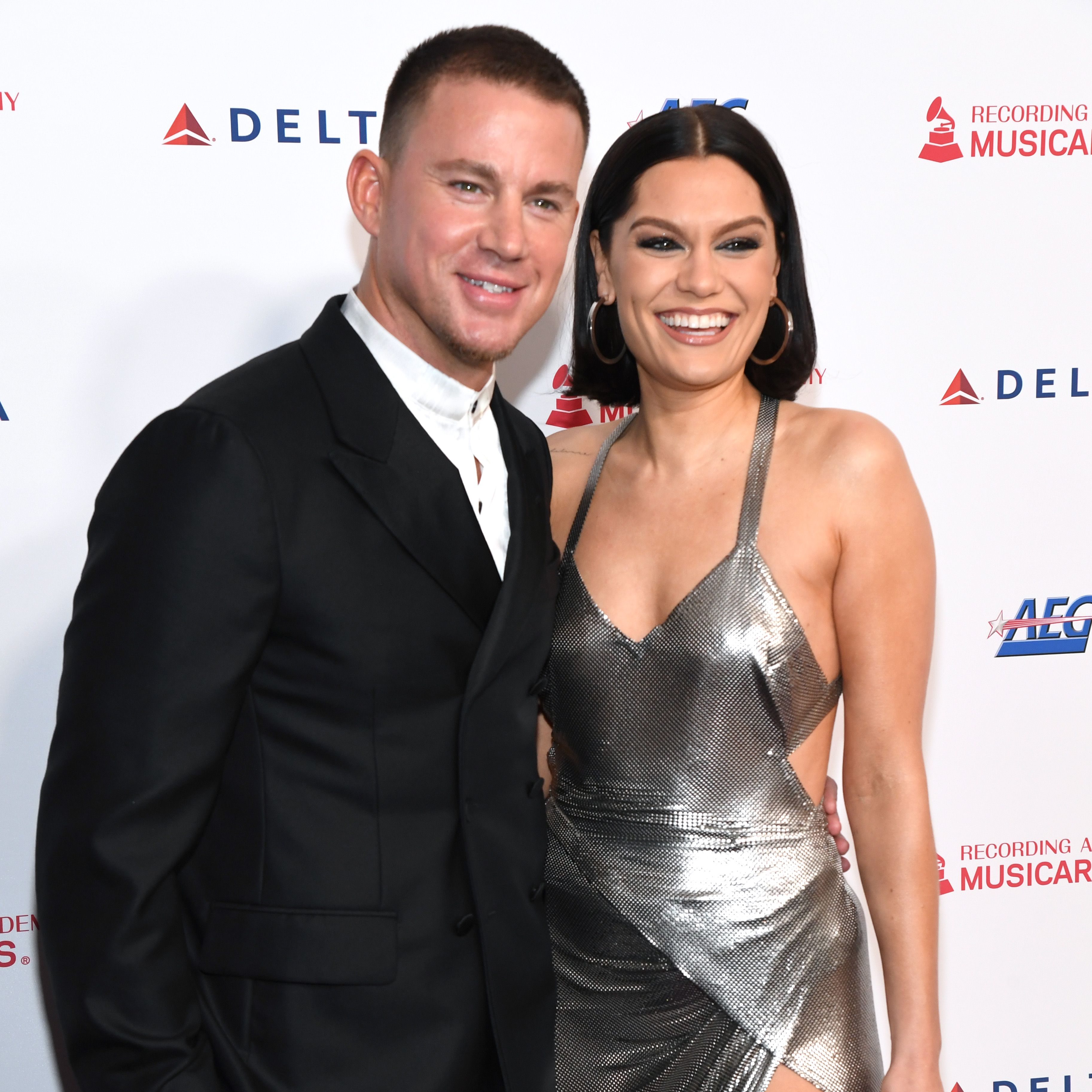 Channing Tatum and Jessie J pose for a photo.