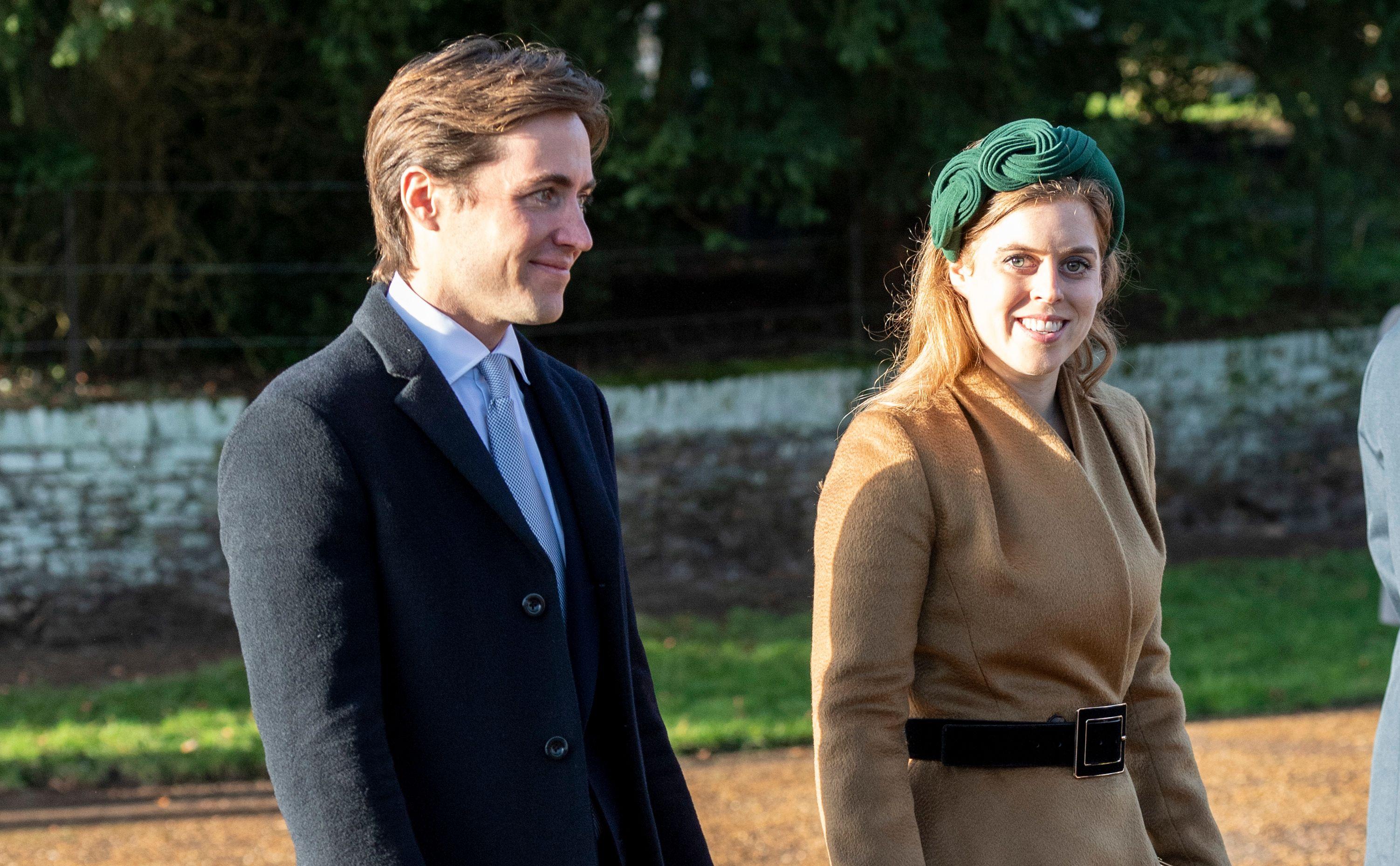Princess Beatrice with her fiance Eduardo on Christmas day at Sandringham