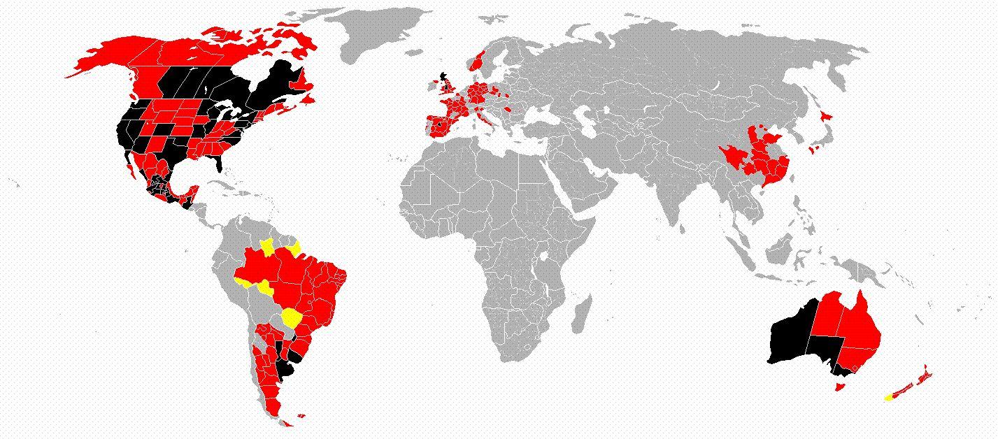 World maps shows virus spread