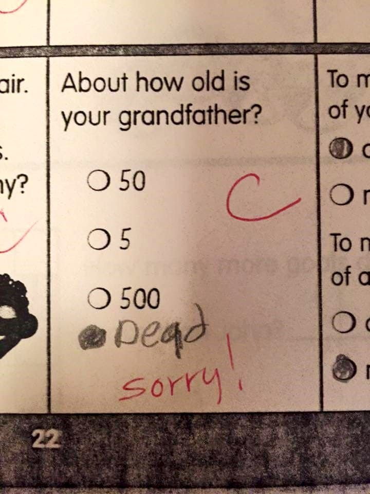 """One photo of multiple choice question with a keep it simple answer written saying """"Dead, sorry!"""""""