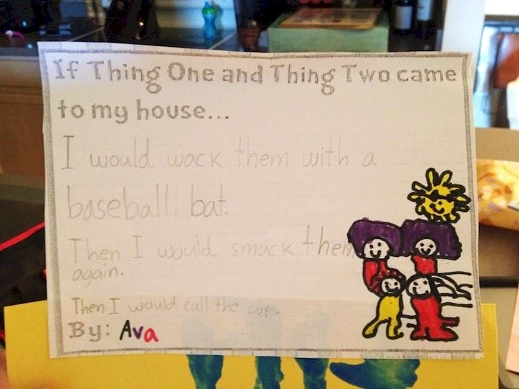 One photo of child's violent answer to thing one and thing two coming to their house