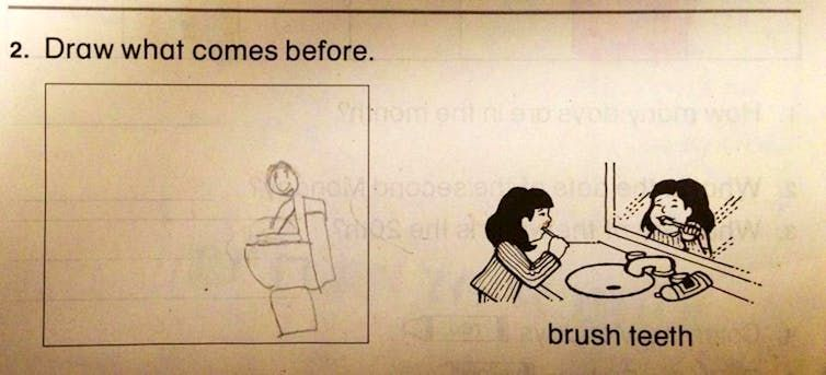 One photo of stick figure using the toilet before brushing their teeth to keep it simple