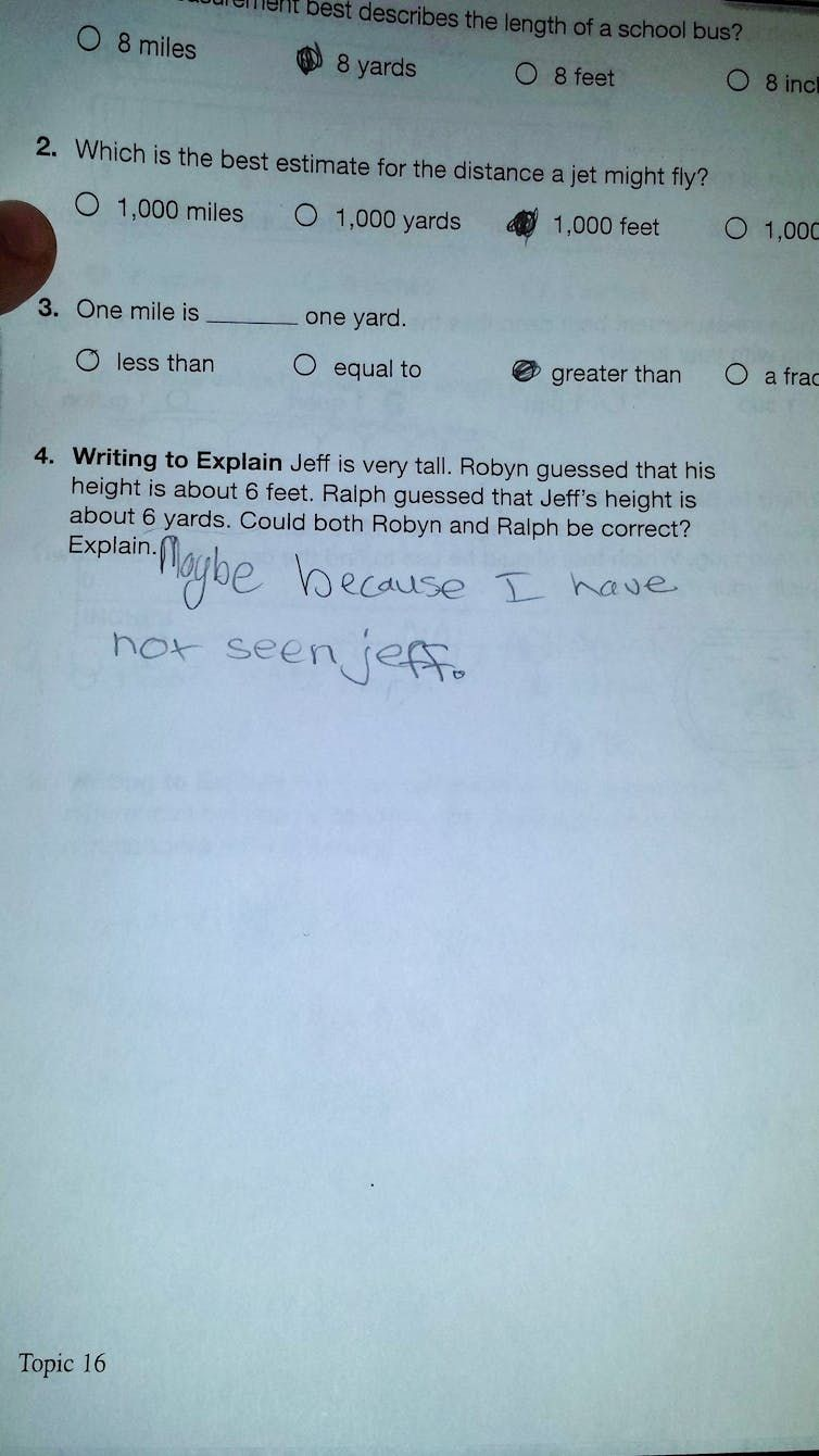 """One photo of student's answer saying """"maybe, because I have not seen Jeff"""""""